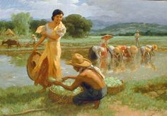 i LOVE Amorsolo's works! this one has it all: the simple Philippine rural life, a beautiful Filipina, and most of all, the lovely use of light. also notice the guitar player in the background. in elementary school, we were taught that the guitar music kept the farmers entertained while working all day long. beautiful!