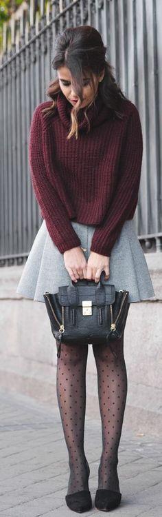 Cute look for fall/winter - burgundy sweater, skirt, handbag and shoes. Latest fall fashion trends.: