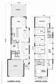 Narrow Lot House Plans Modern House Design Cost Planning And Builders South East Northern New South Whales Magnolia Small Lot Narrow Lot Modern House Plans Australia House Layout Plans, Shop House Plans, House Layouts, House Floor Plans, Narrow House Designs, Narrow Lot House Plans, Modern House Plans, The Plan, How To Plan