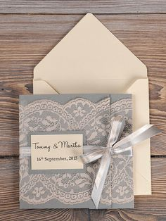 Grey and Peach Lace Wedding Invitation Pocket by DecorisWedding
