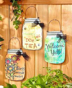 Southern Sayings Wall Hangings ~ Mason Jar Art Sign Plaque Country Door Decor