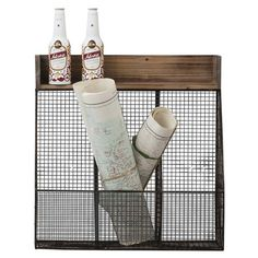 This metal storage shelf features a solid wood top and three separate compartments, perfect for storing post and out-the-door essentials in your hallway or d...