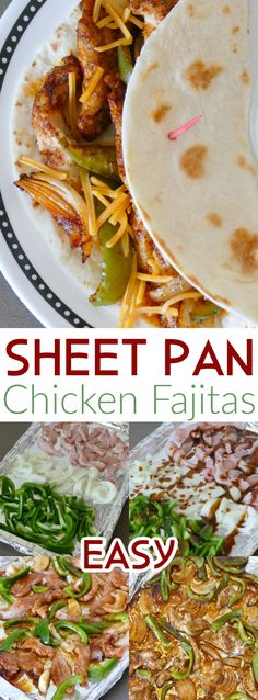 Dinner is on the table in 30 minutes with this easy Mexican recipe! All the flavors of a traditional fajita, baked in the oven, served on a flour tortilla with your favorite toppings! Great with chicken, steak, pork or shrimp!