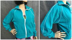 """70's """"Sportswear"""" Aqua Zip-Up Sweatshirt with White Piping and Zipper - Women's Size Large by ElkHugsVintage on Etsy"""
