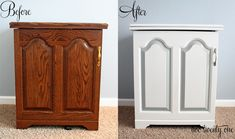 How to Paint Laminate Furniture Sewing Cabinet Makeover {Painting Furniture} - Two Twenty One Repurposed Furniture, Cool Furniture, Painted Furniture, Furniture Ideas, Cabinet Furniture, Furniture Design, Painting Laminate Furniture, Sewing Cabinet, Cabinet Makeover