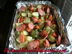 A quick and easy way to fix an all-in-one meal.  I love roasted vegetables and the Hillshire Farm Sausage really adds to the flavor. 4 or 5 potatoes, peeled and cut into chunks1 large green ...