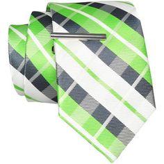 JF J. Ferrar® Plaid Tie with Tie Bar - jcpenney