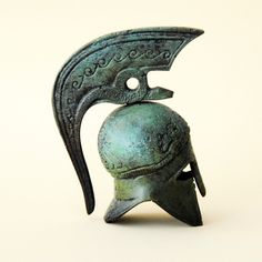 Corinthian Helmet | Bronze Helmet with Serpent Crest Ancient Greek by GreekMythos