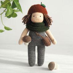 """Waldorf doll boy 10"""", waldorf mushroom boy doll, waldorf elf toddler toy, cloth doll waldorf handmade, knitted doll, organic waldorf doll"""