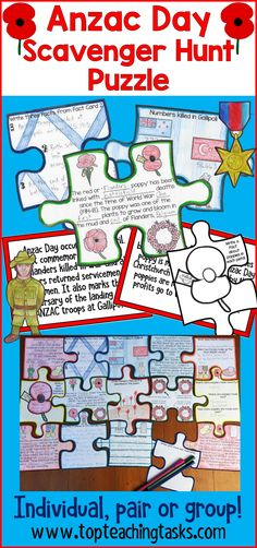 Engage your students in the Anzac Commemorations with our interactive scavenger hunt and puzzle pack! Your students will learn about Anzac Day's history, the battle of Gallipoli, the significance of poppies, how Anzac Day is celebrated today, and who the 28th Māori Battalion were. Display the 15 fact cards around the room, and hand out the puzzle pieces. Students use the facts to complete their interactive puzzles. #AnzacDay #AnzacDayActivities