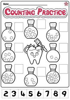 Kindergarten Addition Worksheets, Kindergarten Worksheets, Worksheets For Kids, Preschool Kindergarten, Dental Kids, Free Dental, Ra Bulletin Boards, Preschool Lessons, Preschool Activities