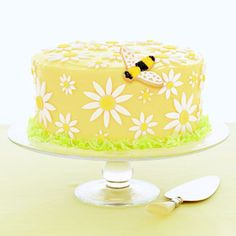 Daisy Cake with a cute bumble bee. Yummy and adorable and easy dessert.