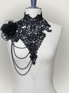 """Lace Collar """"Tacita"""", made of black embroidered laces; decorated with pearl chains and organza rose. By V-Couture Boutique"""