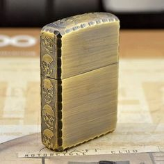 Japanese Antique Brass Sides Skull Zippo Lighter Limited Edition