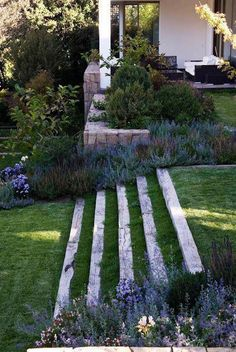your backyard or front lawn a fresh look this season with these gorgeous garden design ideas.Give your backyard or front lawn a fresh look this season with these gorgeous garden design ideas. Path Design, Landscape Design, Landscape Stairs, House Design, Design Design, Design Concepts, Back Gardens, Outdoor Gardens, Jardim Natural