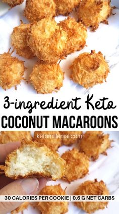 Easy keto coconut macaroons made with egg whites, coconut and sugar free sweetener. These 3 ingredient coconut macaroons are the perfect quick keto treat that bakes in under 20 minutes! This is the best recipe for keto coconut macaroons! Keto Desserts, Keto Dessert Easy, Healthy Dessert Recipes, Keto Snacks, Breakfast Recipes, Breakfast Casserole, Coconut Recipes Healthy, Coconut Flour Recipes Low Carb, Diabetic Deserts