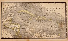 Antique Map of The CARIBBEAN Vintage 1886 by plaindealing on Etsy, $7.95