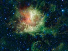 """#Cosmos Pacman Nebula  In visible light, the star-forming cloud known as NGC 281 in the constellation of Cassiopeia appears to be chomping through the cosmos, earning it the nickname the """"Pacman"""" nebula after the famous Pac-Man video game of the 1980s."""