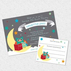 Baby Shower Invitation and Bookplate Set, Printable, Story Book Themed mom and baby Owl, Boy or Girl Gender Neutral, DIY Digital File. $18.00, via Etsy.
