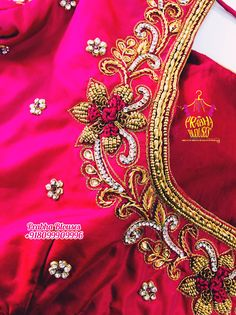 Wedding Saree Blouse Designs, Pattu Saree Blouse Designs, Blouse Designs Silk, Designer Blouse Patterns, Kids Blouse Designs, Simple Blouse Designs, Simple Embroidery Designs, Maggam Work Designs, Maggam Works