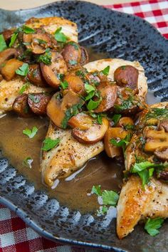 Chicken marsala is a quick and tasty dish where the chicken is sauteed in a pan and then the Marsala, an Italian fortified wine, is used along with mushrooms to make a pan sauce to go with the chicken. Pan sauces are so easy to make and always full of flavour and this one is no different coming together in no time at all!