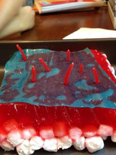 Edible layers of skin! marshmallows on top of partially set jello, fruit roll-up, and peeled licorice hair.