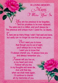 home cards in loving memory mum i miss you so much grave card