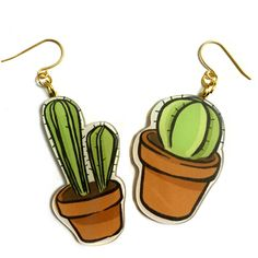 Cactus, Green Plant, Cartoon animated jewelry, Gold Earrings, Big... ($27) ❤ liked on Polyvore featuring jewelry, earrings, flower jewelry, flower earrings, comic earrings, gold jewellery and earring jewelry