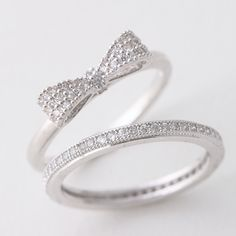 Pave White Gold Bow Ring In Sterling Silver from Kellinsilver.com