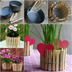 How to DIY Nice Plant Pot with Clothespins and Tin Can | iCreativeIdeas.com Like Us on Facebook ==> https://www.facebook.com/icreativeideas