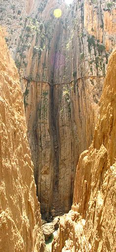 Caminito del Rey, Andalusia, Spain -- the thin line above is a hiking path, considered the most dangerous in the world.