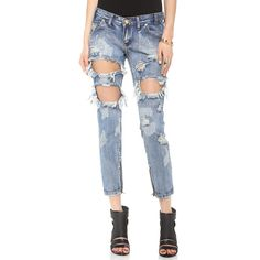 One Teaspoon Trashed Freebird Jeans ($140) ❤ liked on Polyvore featuring jeans, cobain, destructed skinny jeans, destroyed denim skinny jeans, ripped jeans, zipper skinny jeans and torn skinny jeans