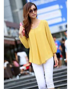 Yellow Chiffon Top yellowLAV818