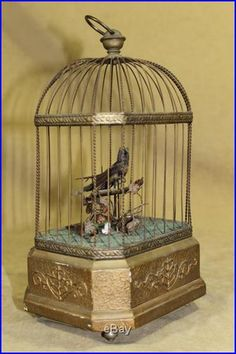 Antique German Mechanical Automaton Singing Song Bird Cage Music Box