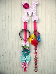 "6"" Custom Bow Holder Headband Holder Headband Organizer, Decoupage Letters, Children Initial Bow Holder Fabric Flower, baby shower gifts. $20.00, via Etsy."