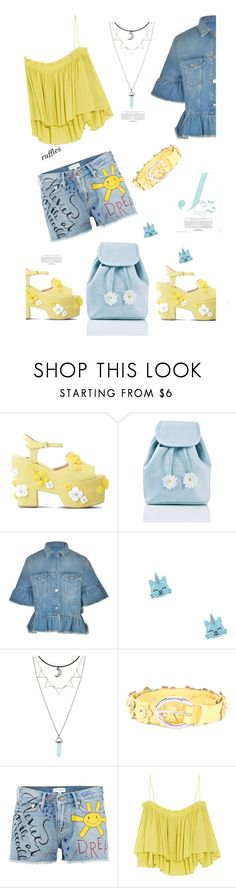 """Walking on Sunshine'"" by dianefantasy ❤ liked on Polyvore featuring Boutique Moschino, Sugarbaby, MSGM, Orciani, Mira Mikati, Apiece Apart, polyvorecommunity, polyvoreeditorial and ruffledtops"