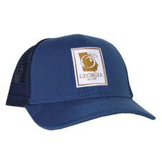 4bb2473bc6cbd Georgia Navy Mesh Back Trucker Hat Cap Peach State Pride Stay Southern New