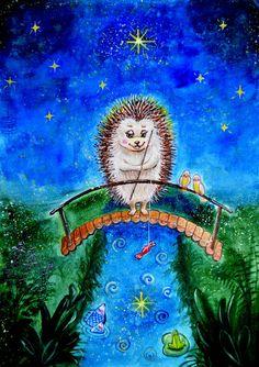 Просмотреть иллюстрацию Ёжик и звездочка из сообщества русскоязычных художников автора Наташа К в стилях: Детский, нарисованная техниками: Акварель.