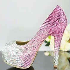 Handmade Crystal Rhinestone Bride Shoes Wedding Pumps Women Pink White High  Heels Women s Bridal Dress Shoes Prom Heels Bridal Shoes 6bad438a225e