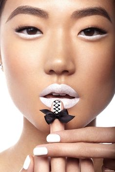 White hot lips, eyes, and nails