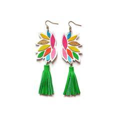 Gland vert cuir boucles d'oreilles, Rainbow géométriques boucles d'oreilles, boucles d'oreilles cuir coloré bijoux Tassel cuir géométrique