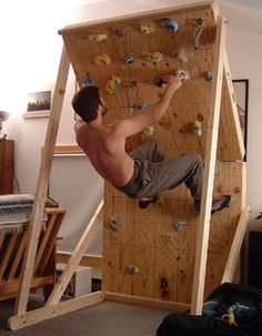 Mobile climbing wall. 2x4's and plywood only