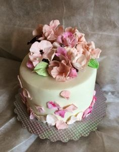 Lovely birthday cake, gum paste flowers, branches of caramel ~ all edible