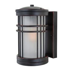LNC 1-Light Exterior Porch Wall Light,Brown,Frosted Glass Shade