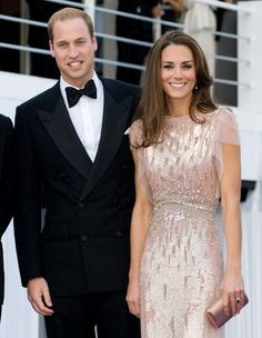 Kate is stunning in a blush pink Jenny Packham dress...
