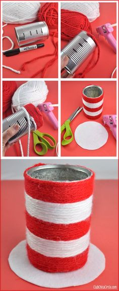 Dr. Suess Hat Pencil Cup Easy Craft Idea with Truffula Tree Pencils   Tween Craft Ideas for Mom and Daughter