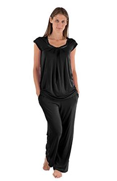 Women's Jersey Pajamas – Bamboo Bliss (Black, Large) Perfect Gift for Her Soft Comfortable PJs Cool creative present for mom wife daughter fiancee aunt grandma comfy sleepwear loungewear WB0001-BLK-L