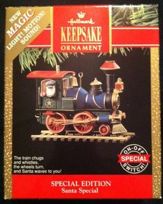 """""""Santa Special"""" Train, Magic Light, Motion and Sound Hallmark Ornament, 1991 - I have this one."""