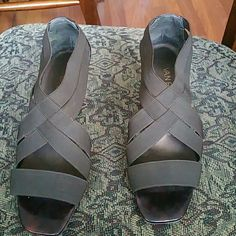 CUTE BROWN ELASTIC BAND SHOES CUTE BROWN ELASTIC BAND SHOES.  Worn ones.About 3 inch heel. Elastic band make these shoes very comfortable. Like new condition. Size 8 van eli Shoes Heels