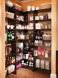 kitchen pantry ideas; love the painted walls and dark shelves. Looks very clean.